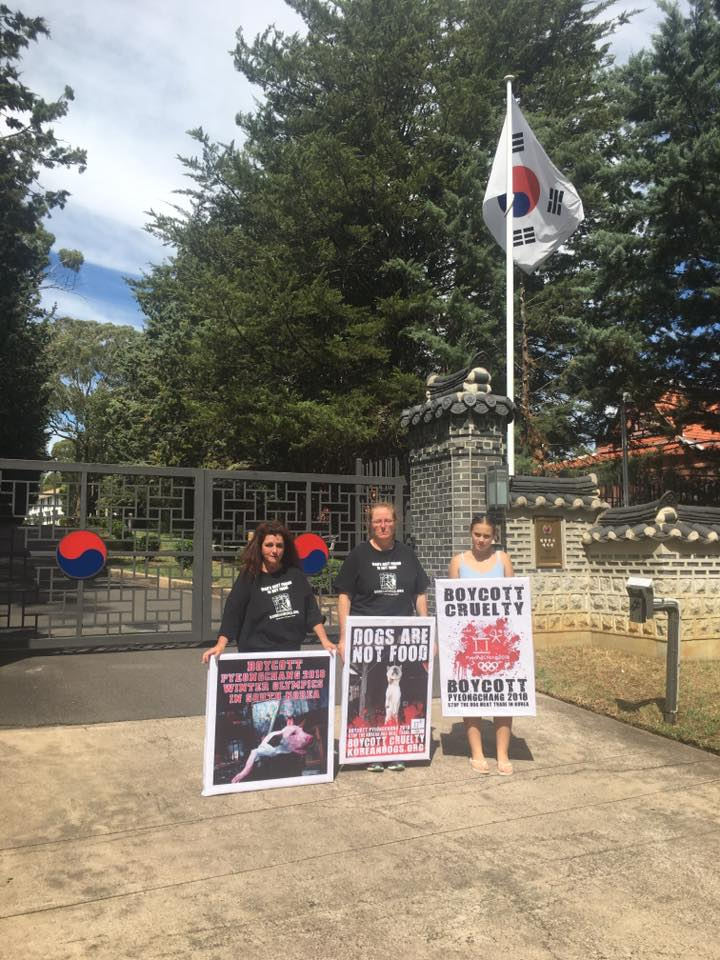 Protest the horrific & cruel dog meat trade in South Korea at the Canberra, Australia Korean Embassy – February 9, 2017