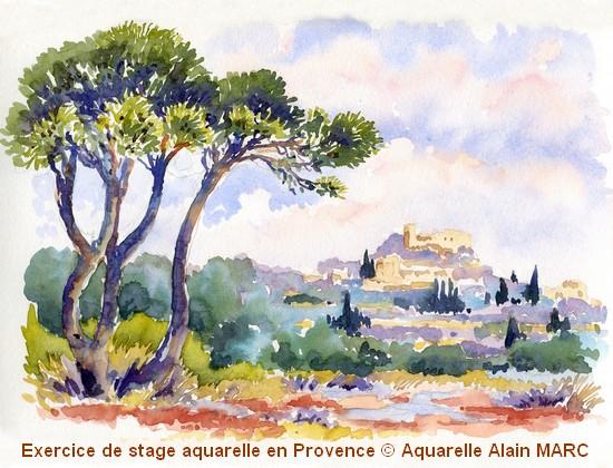 Motif - démo stage aquarelle en Provence