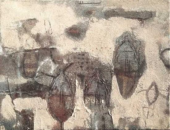 """""""Les sentinelles"""" Technique miste sur toile 61 x 50 cm"""