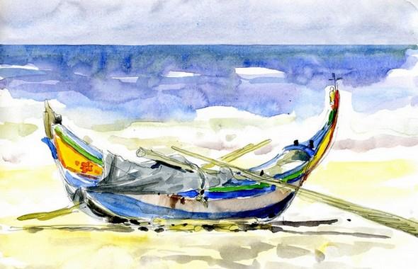 Barque portugaise traditionnelle région de Nazaré (Stage carnet de voyage Lisbonne et sa région)