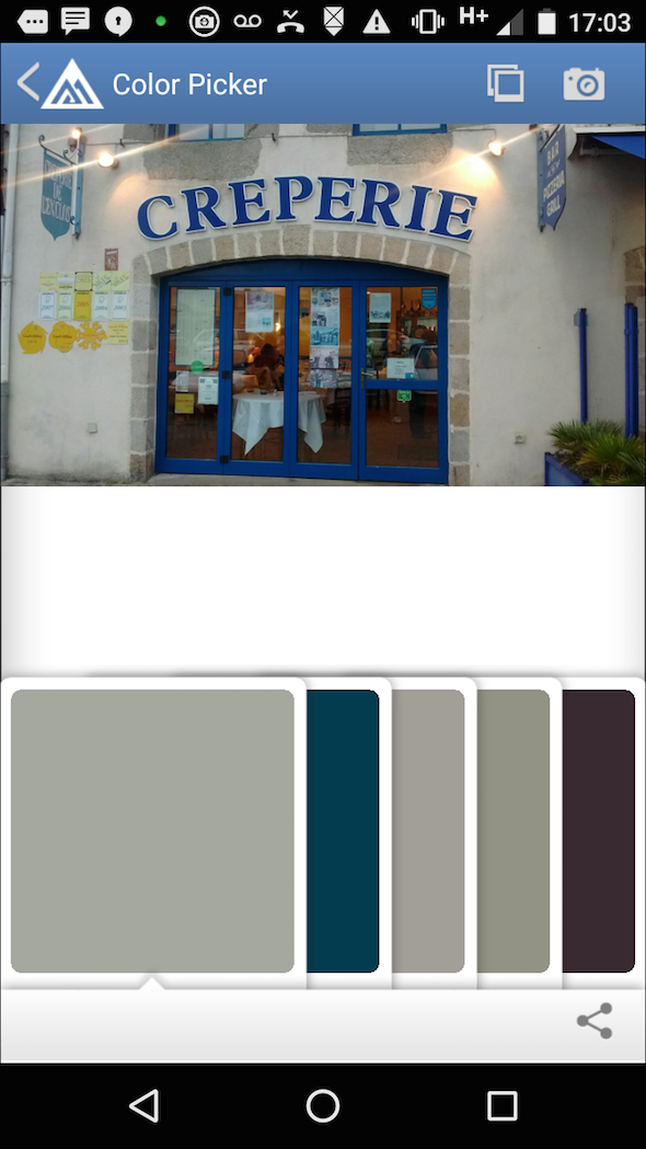 colour palettes of french crepe house