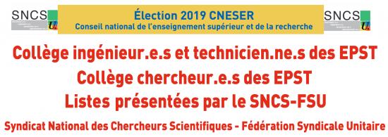 Élection 2019 au Conseil national de l'enseignement supérieur et de la recherche (CNESER) : Profession de foi et liste présentées par le SNCS-FSU