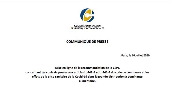 Relations commerciales : publication de la recommandation de la CEPC sur la sortie de crise