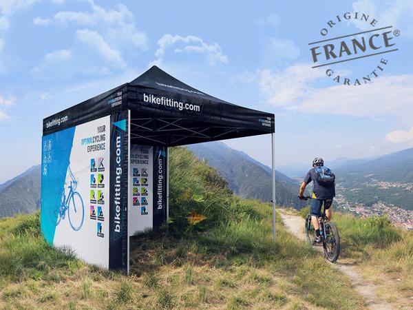 Tentes pliantes V3 PRO pour bikefitting.com, filiale de Shimano spécialisée dans le positionnement du cycliste.