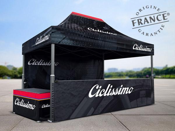 Tentes pliantes V2 4x6m pour Ciclissimo, réseau de magasins de vélos multimarques en Suisse proposant des services de vente, de location et de réparation de vélos de route, VTT, e-bike et vélos pour enfants. Chaque magasin dispose de son atelier constitué de professionnels aguerris mettant leur expertise à votre service.