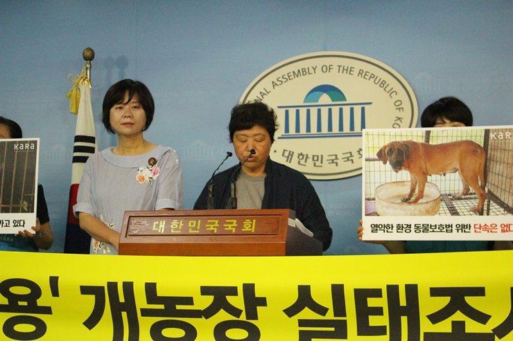 KARA discloses results of their investigation of 'meat dog farms' at press conference.