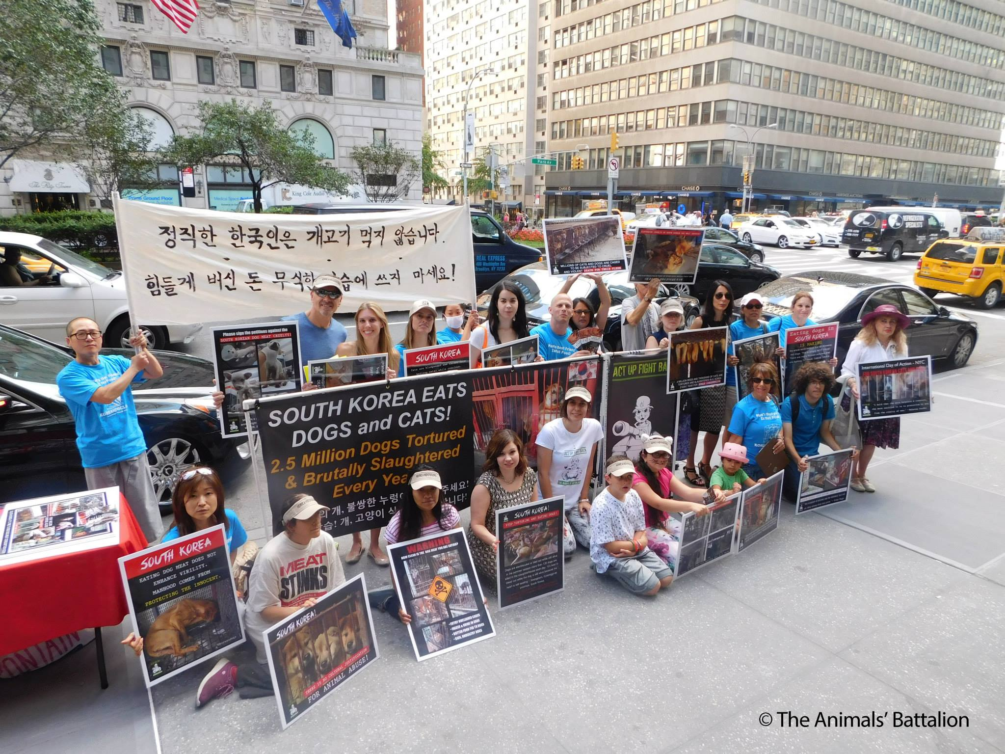 Demonstration at the Korean Consulate General's Office in New York, July 23, 2015.