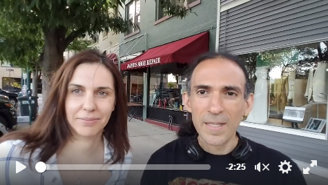 Roberto and Noelia with the Animals' Battalion video message