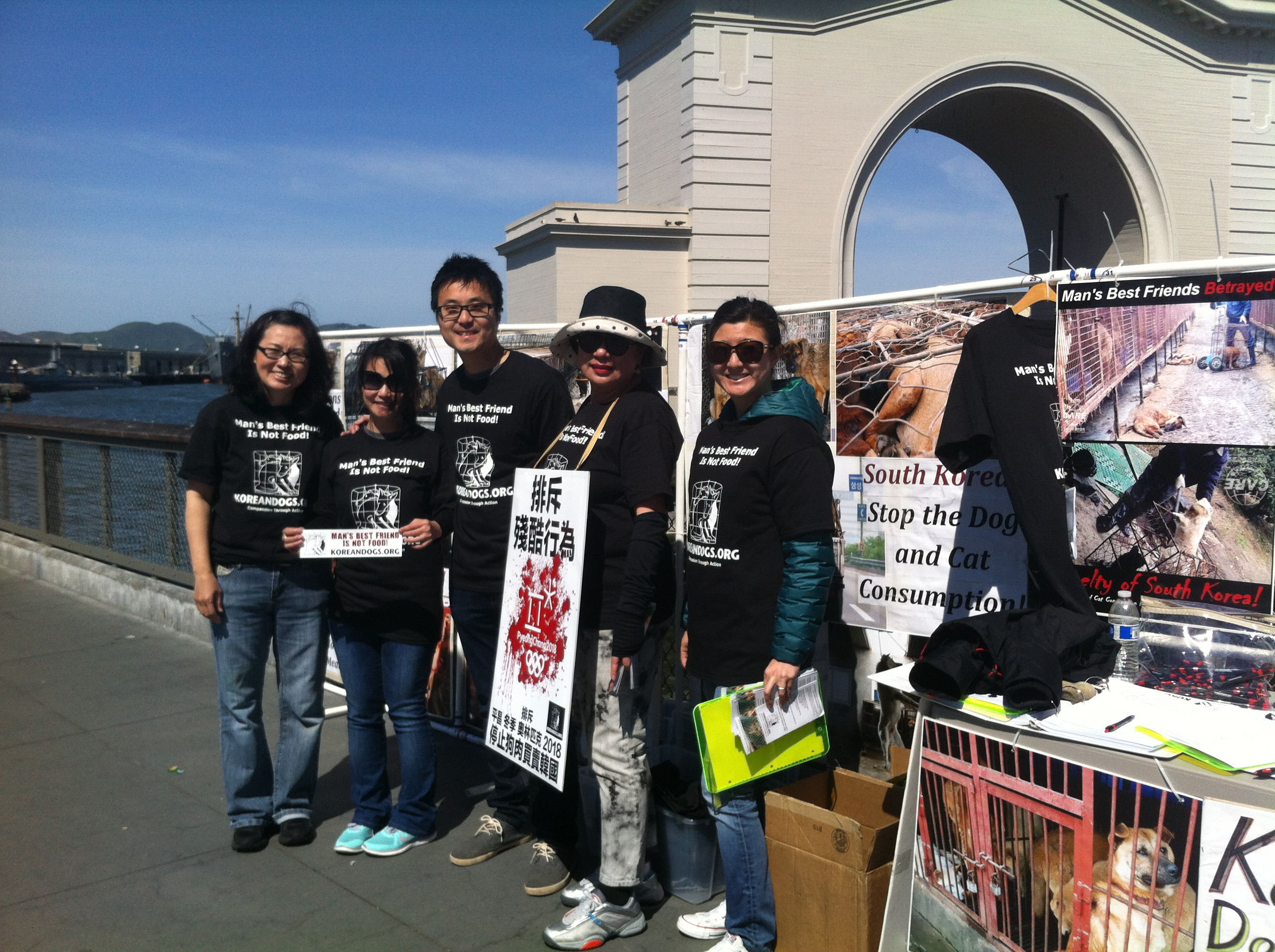 March 27, 2016 Sunday - Fisherman's Wharf, San Francisco, California Leafleting and Informational Event on South Korean Dog Meat Trade