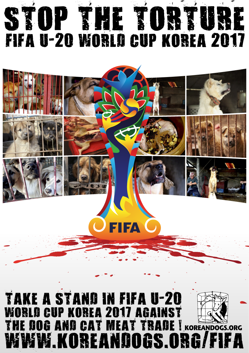 The Fédération Internationale de Football Association (FIFA) : Take a stand in FIFA U-20 World Cup Korea 2017 against the dog and cat meat trade!