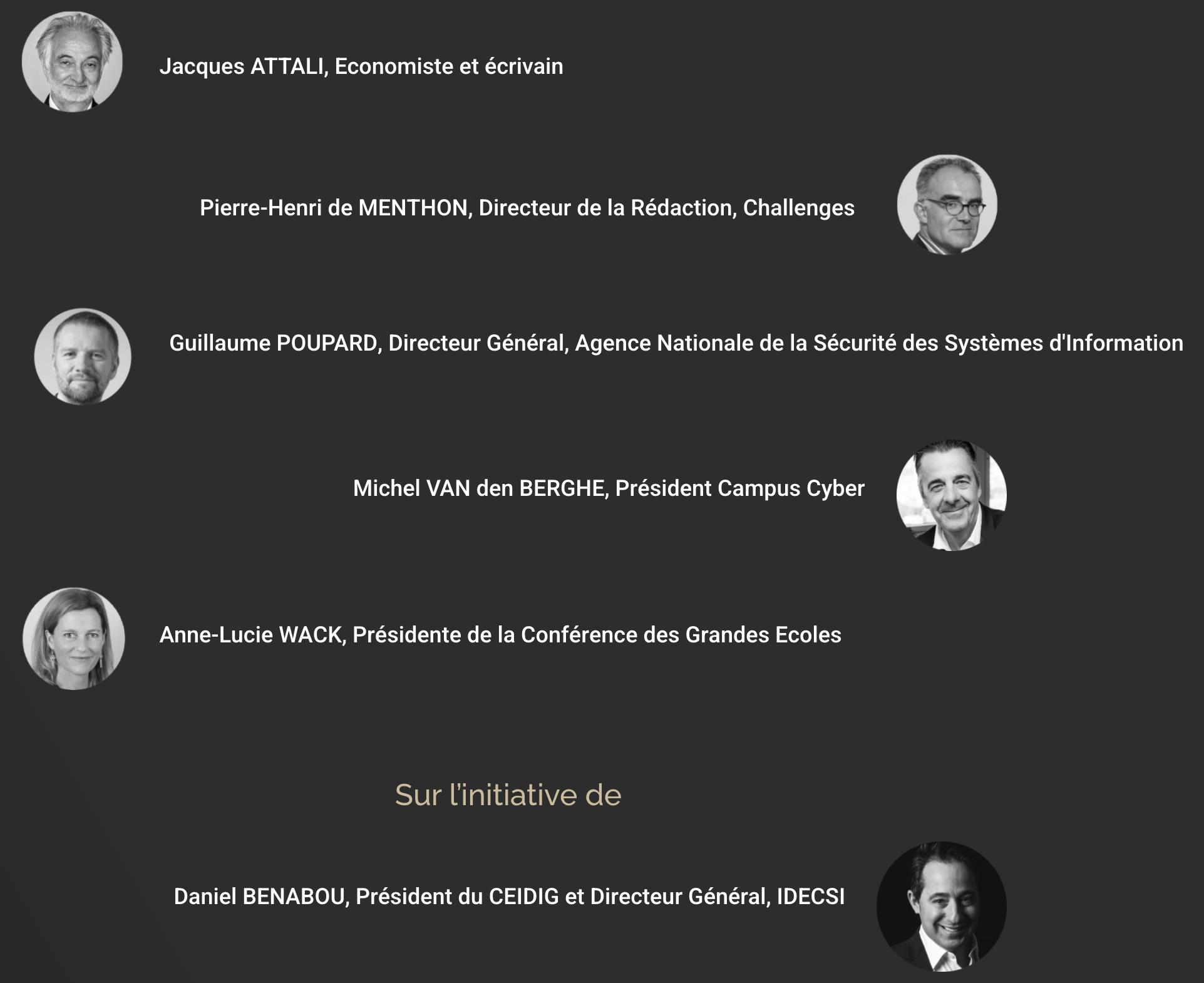 Jacques ATTALI, Pierre-Henri de MENTHON, Guillaume POUPARD, Michel VAN DEN BERGHE, Anne-Lucis WACK, Daniel BENABOU