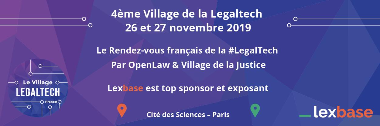 Rendez-vous les 26 et 27 novembre 2019 au 4ème Village de la Legaltech