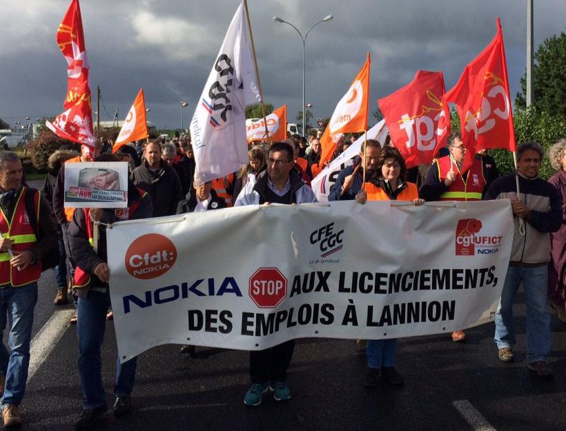 Manifestation des salariés de Nokia à Lannion manifestent suite à l'annonce d'un plan de licenciements en 2017.