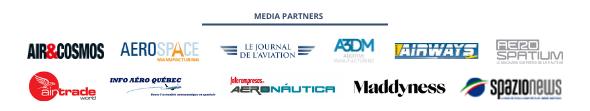 Media partners: Air & Cosmos, Aerospace Manufacturing, Le journal de l'aviation, A3DM, Airways, Aerospatium, AirTrade World, Info Aéro Québec, Interempresas Aeronáutica, Maddyness, Spazio News