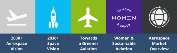 Conferences' key topics include: 2030+ Aerospace Vision, 2030+ Space Vision, Toward a Greener Aviation, Women & Sustainable Aviation and Aerospace Market Overview