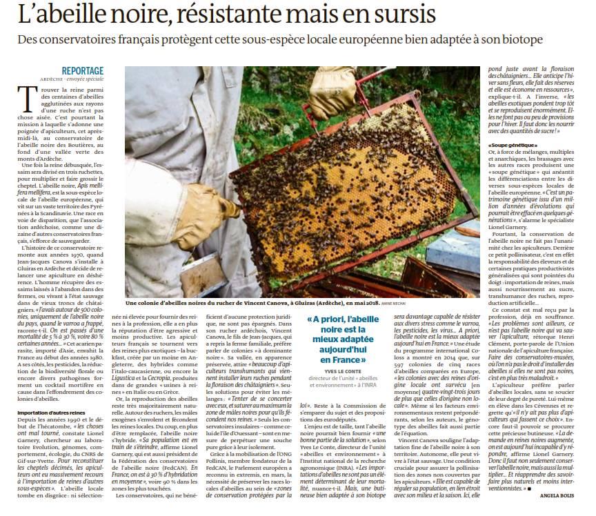 Article du Monde le 18 aout 2018