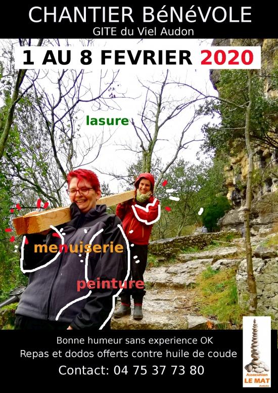 chantier bénévole Gîte du Viel Audon 2020