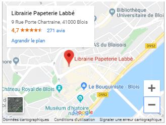 Carte Google Maps - Librairie Labbé