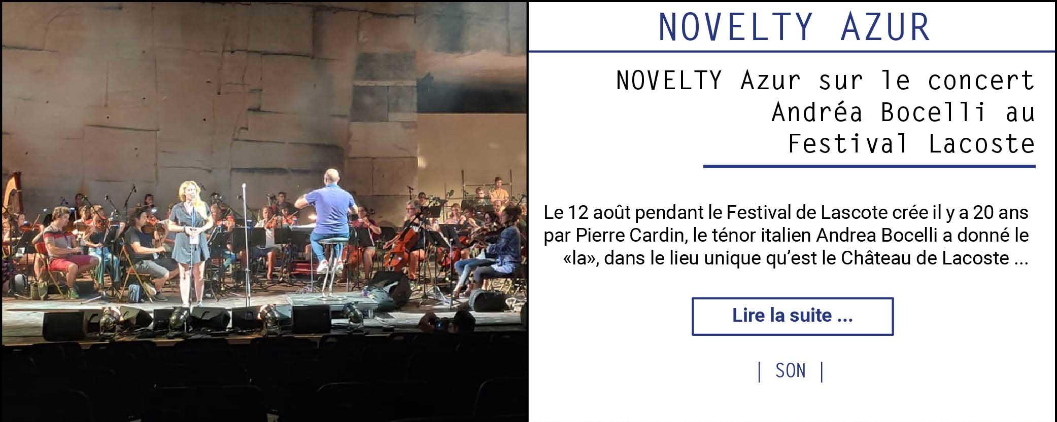Novelty Azur sur le concert Andréa Bocelli