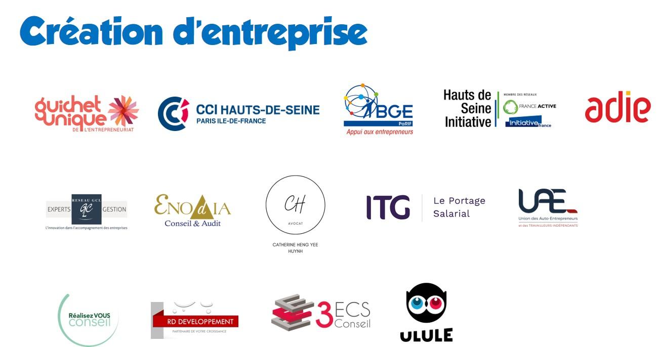 partenaires Création d'entreprise
