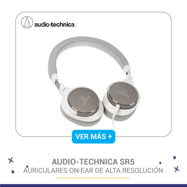 Audífonos Audio-technica SR5 Auriculares On-Ear de alta resolución. Acabado en color blanco.