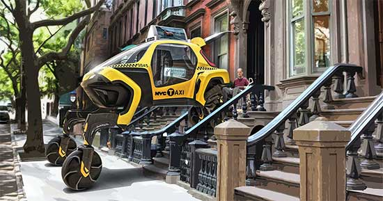 Yellow wheelchair taxi concept vehicle by Hyundai.