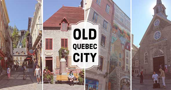 Public square and french architecture in Quebec City.