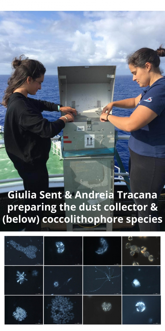 Giulia Sent and Andreia Tracana preparing the atmospheric dust collector on AMT and example phytoplankton species found on the cruise