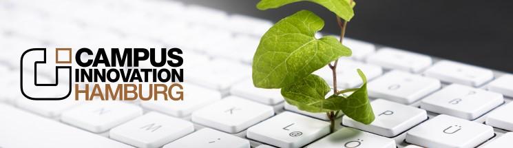 Bildmotiv Campus Innovation: eine zartes Pflänzchen wächst aus einer Tastatur; MMKH
